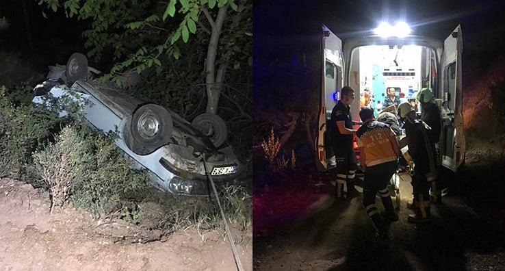 Takla atarak şarampole yuvarlanan otomobilde 2 kişi yaralandı