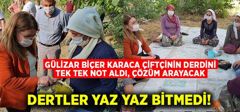 Gülizar Biçer Karaca çiftçinin derdini tek tek not aldı, çözüm arayacak