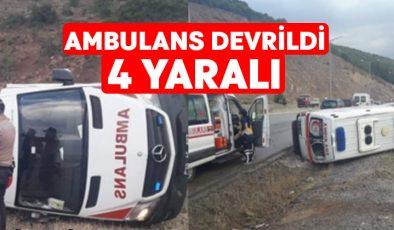 Ambulans devrildi.. 4 Yaralı