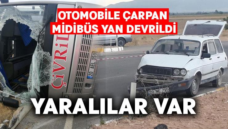Otomobile çarpan midibüs yan devrildi.. 3 yaralı